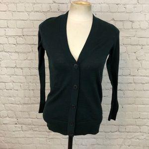 LOFT Green V-Neck Cardigan Size XXS